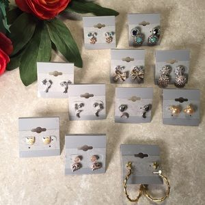 Jewelry - Bundle 25 pairs earrings silver gold tone jeweled